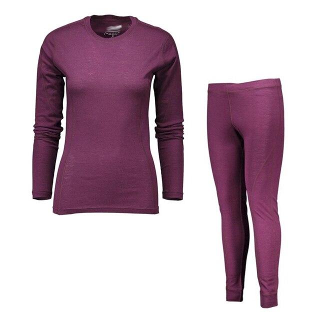 100% Merino ขนสัตว์ผู้หญิงกีฬาชุดชั้นในชุด Light น้ำหนักลูกเรือเสื้อด้านล่างลมหายใจยาวกางเกงยีนส์กางเกง