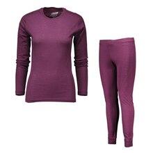 100% lana merino di sport delle Donne set di biancheria intima luce peso crew top inferiore respiro caldi pantaloni lunghi johns