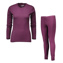% 100% merinos yünü kadın spor iç çamaşırı seti hafif ekip üstleri alt nefes sıcak paçalı don pantolon