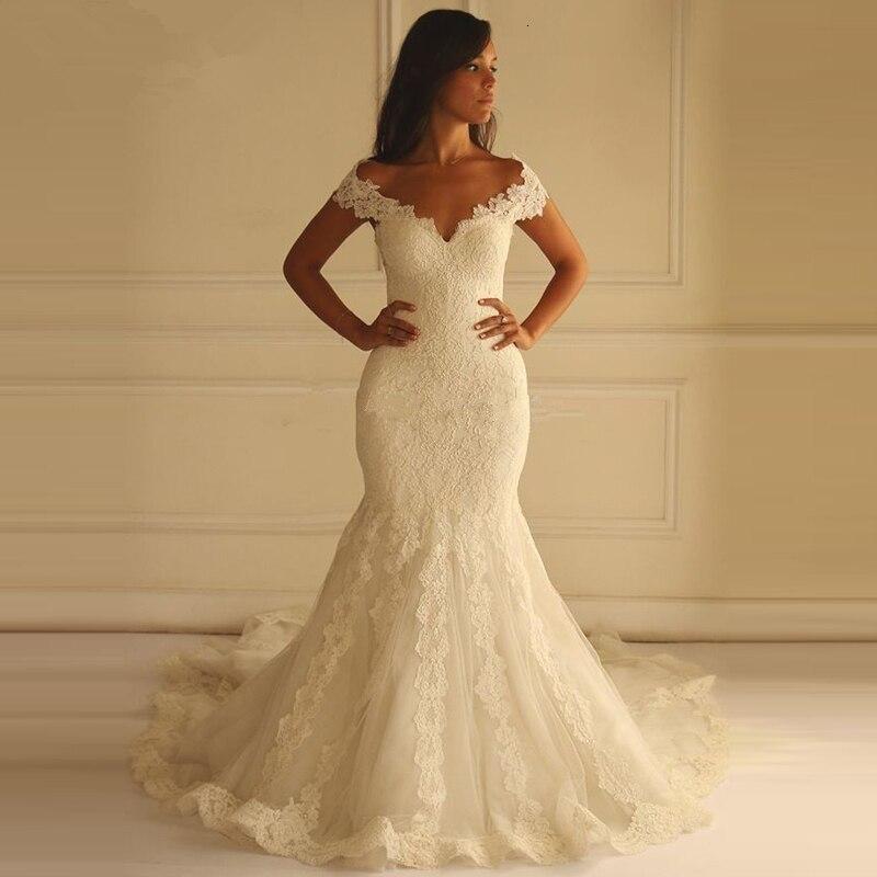 HotSweetheart Neck Boat Neck Mermaid Wedding Dresses Lace Appliques Back Wedding Bridal Gown Vestido De Niova Elegant Plus Size