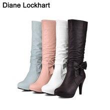 Bottes à plateforme pour femmes, chaussures à talons hauts, bout rond, genou, noir, blanc, rose, bleu, chaussures 32 41 42