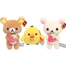 Neue Erdbeere Rilakkuma Puppe Plüsch-schlüsselanhänger Kawaii Anime Braun Bär Gefüllte Anhänger Nette Paar Spielzeug Mädchen Wie Geschenk
