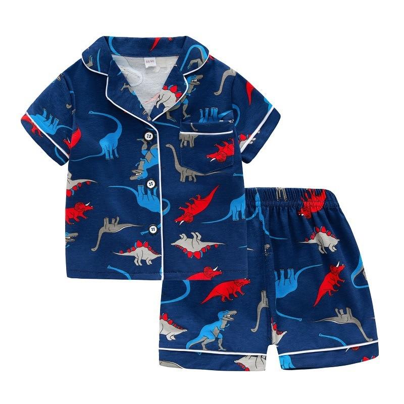 SAILEROAD Summer Dinosaur Pajamas For Boys Girls Cotton Short Sleeve Pyjamas Children Unicorn Pijama Infantil Kids Home Wear Set