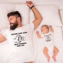 Father and Son Best Friends for Life Family Matching Clothes Family Look Baby Dad Matching Clothes Father and Son Outfits 1pc(China)