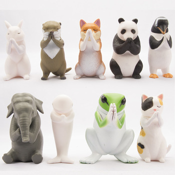 9pcs Cute Blessing Animals Figure Shiba Inu Cat dolphin Elephant Frog Panda Clap the palm Pray for blessing Lucky decor gift toy