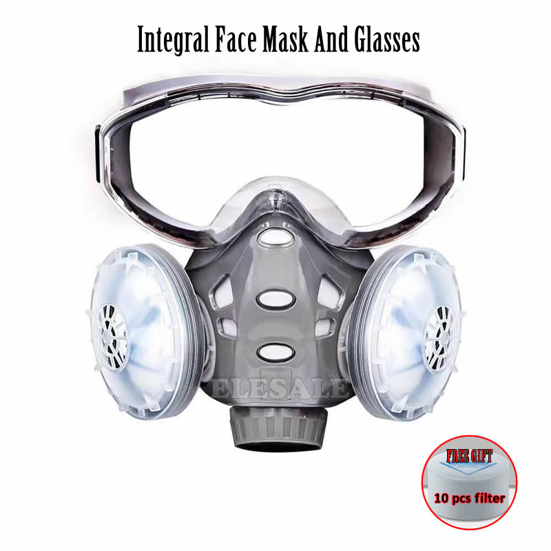 New Integral Dust Mask Safety Goggles Half Face Respirator For Builder Carpenter Daily Haze Protection Work Safety Mask