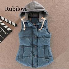 Rubilove 2019 New Brand Spring Autumn Slim Women Vest Jacket Warm Cotton Hooded Coat Winter Plus Size 4xl Waistcoat Female Coats
