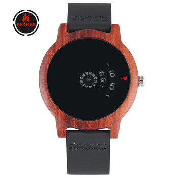 REDFIRE reloj masculino Natural Red Wood Men Watches Unique Cool Turntable Display Mens Watch Quartz Movement Male Wooden Clock