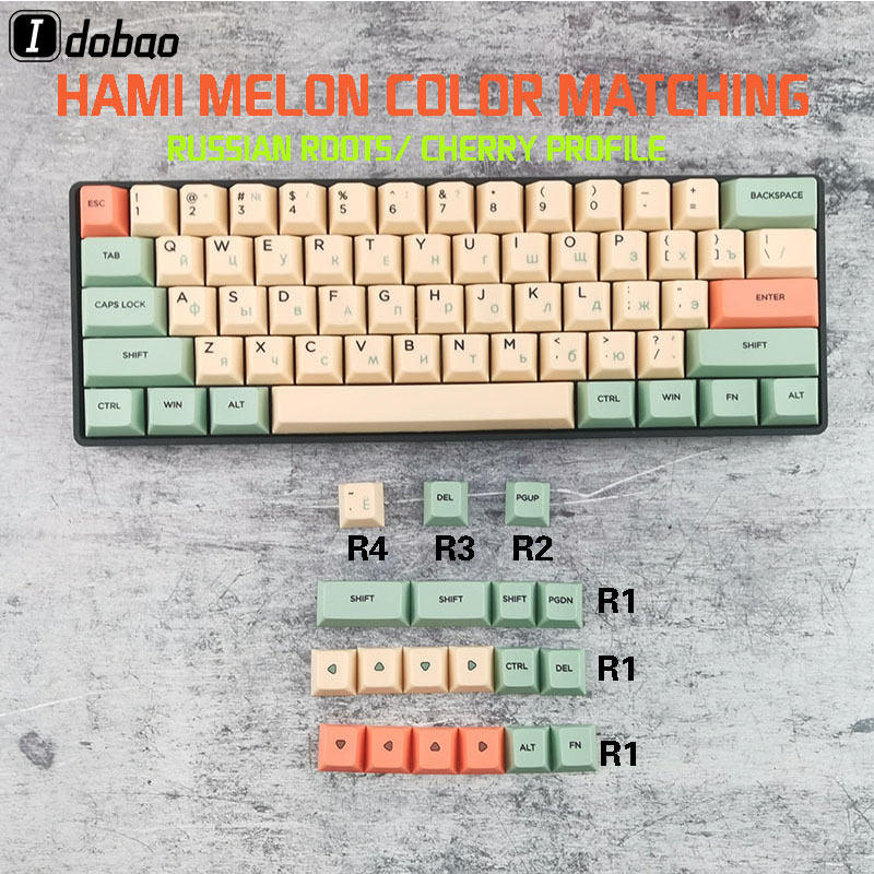 Hami Melon Russian Root Cherry Profile Dye Sub <font><b>Keycaps</b></font> For Mechanical Keyboard GH60 XD64 GK64 Tada68 Poker <font><b>60</b></font> XD60 image
