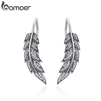 BAMOER Fashion 925 Sterling Silver Vintage Feather Wings Long Drop Earrings for Women Jewelry Brincos SCE215 - discount item  35% OFF Fine Jewelry