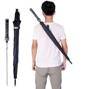 Image 3 - HHYUKIMI Marke Mode Lange Griff Mann Automatische Regenschirm Winddicht Business Schwert Krieger Selbst verteidigung Sunny Kreative Regenschirm