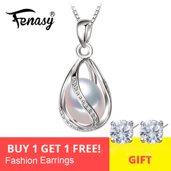 FENASY Natural Freshwater Pearl Pendant Cage Necklace Fashion 925 Sterling Silver Boho Statement Jewelry