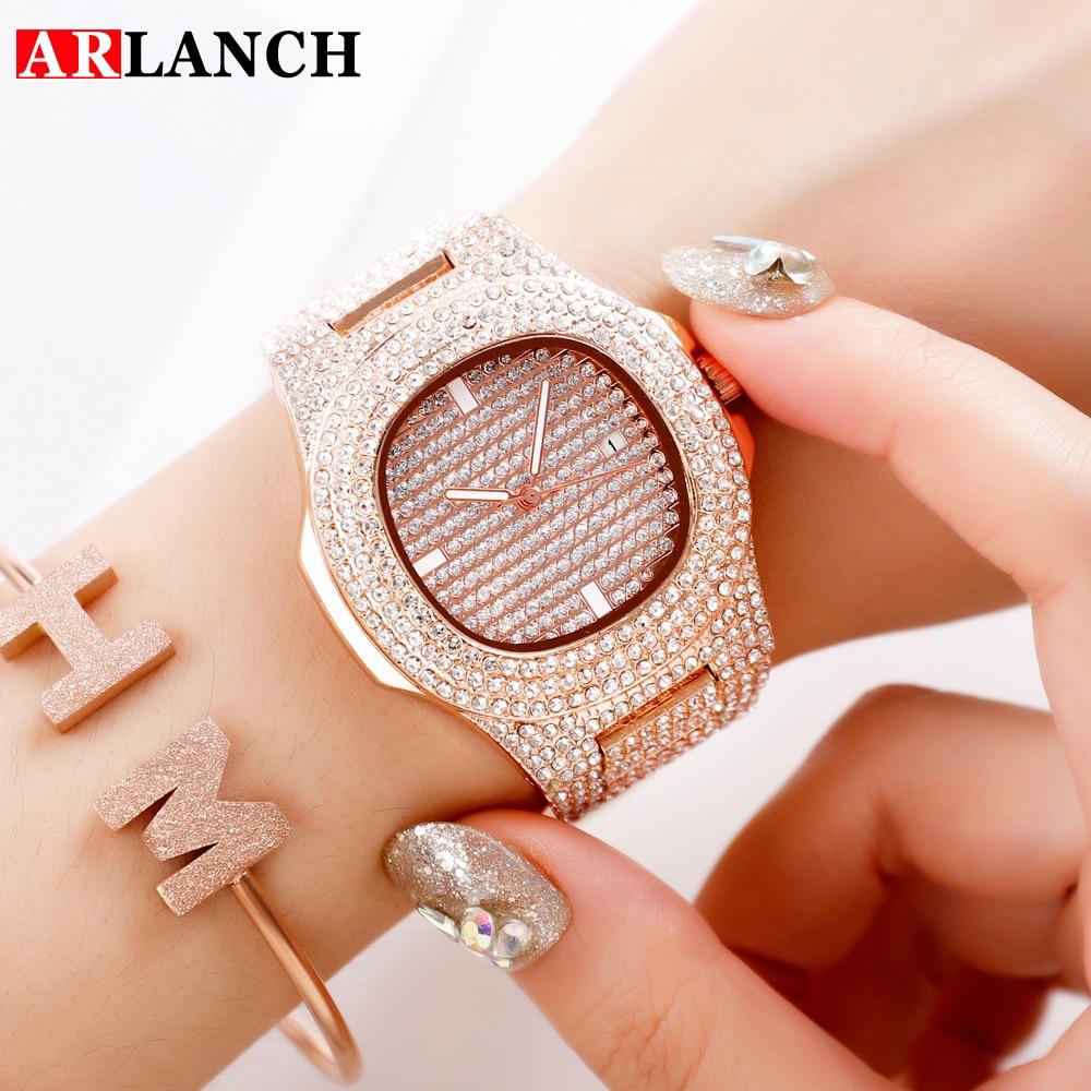 ARLANCH Luxury Women Watches Diamond  Steel Water-proof Automatic Calendar Rose Quartz Wrist Watch For Women Relogio Masculino