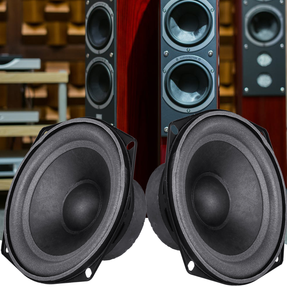 2pcs 5.5inch DIY Bass Horn Speaker Unit Accessories Sound Box Loudspeaker Stereo Subwoofer Speaker Unit Strong Bass Horn Tweeter