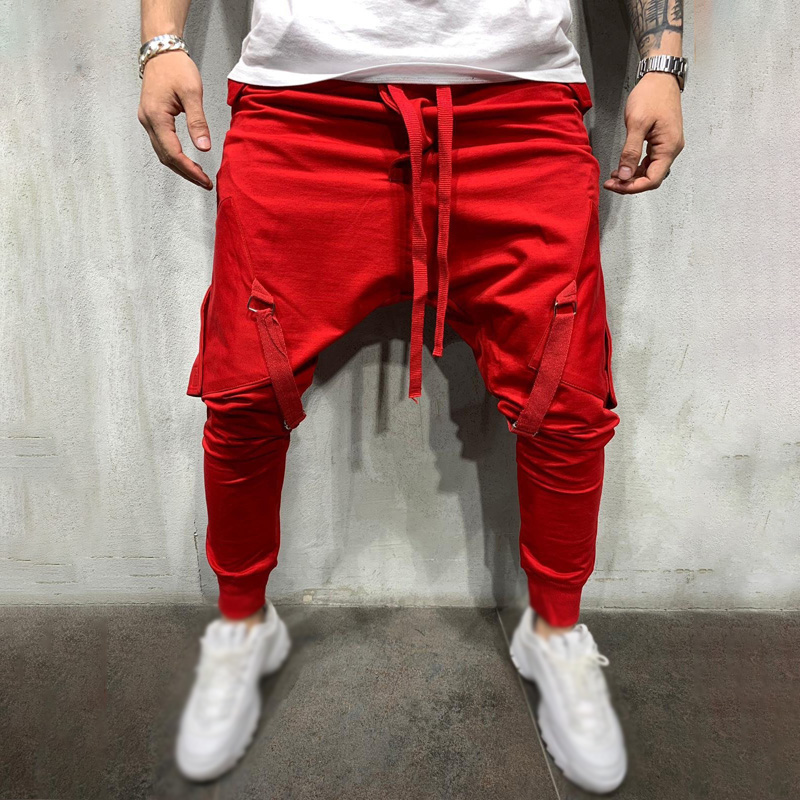 Men's Pants Trousers Slim-Fit Big-Pockets Hip-Hop-Style Sports Fashion Male Ankle-Banded
