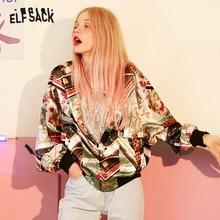 Elfsack vintage multi impressão casacos femininos, 2019 outono streetwear casual coréia solto jaquetas femininas nova moda mulher roupas de topo