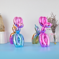 Shiny colourful Balloon Dog Statue Simulation Dogs Animal Art Sculpture Resin Craftwork Home Decoration Accessories ornament