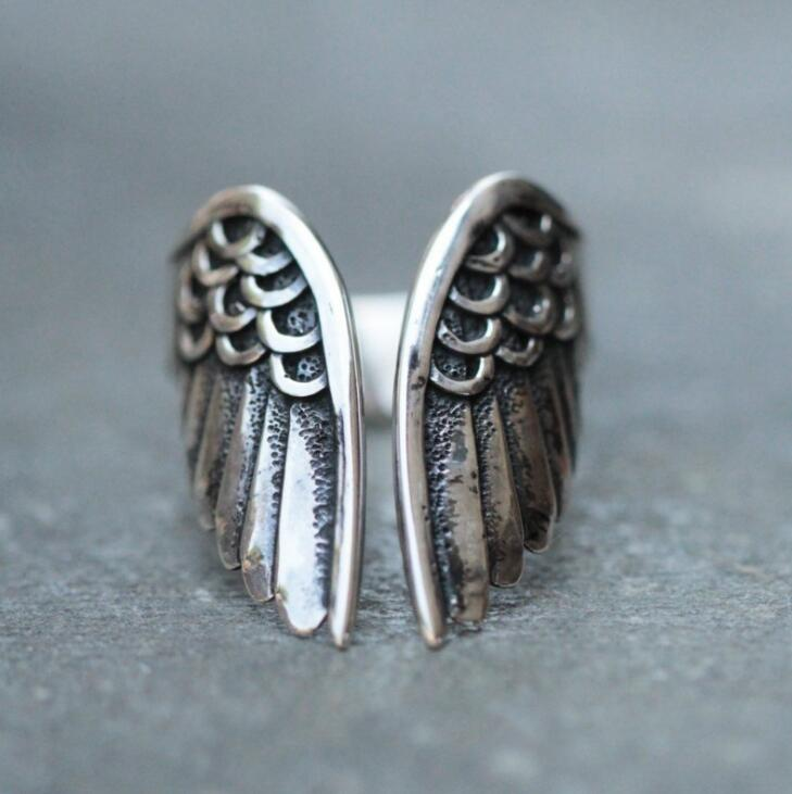 European Style Retro Thai Silver Angel Wings Open Ring Cool High Quality Creative Finger Ring For Women Men Punk Jewelry