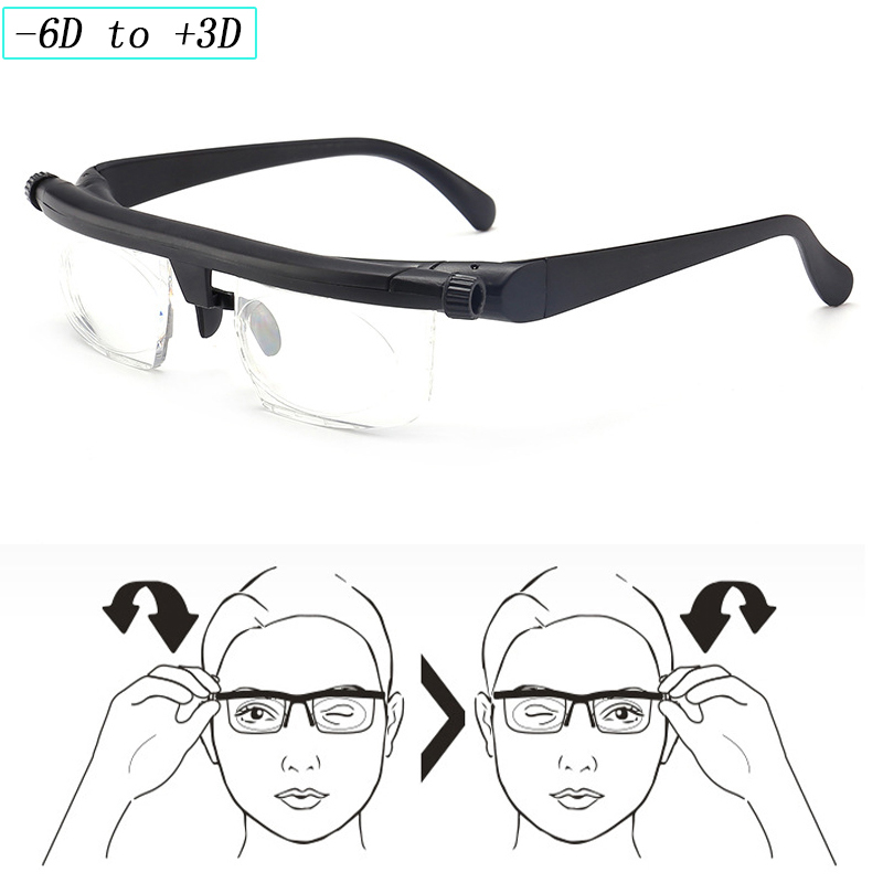 Adlens Focus Adjustable lens Men Women Reading Glasses Myopia Eyeglasses -6D to +3D Diopters vision Magnifying Variable Strength