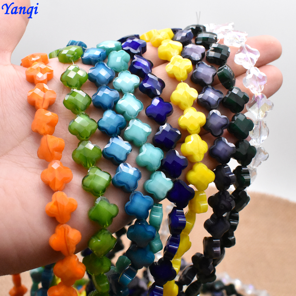 12mm/12pcs New Four Leaves Clover Flower Glass Beads Solid Color Crystal Glass Beads For Jewelry Making Earring Necklace Finding