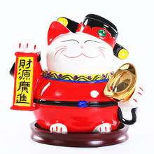 Ceramic Wealth God Ceramic Lucky Cat Piggy Bank Feng Shui Home Decor Figurines Home Accessories Reception Desk Decor Craft(China)