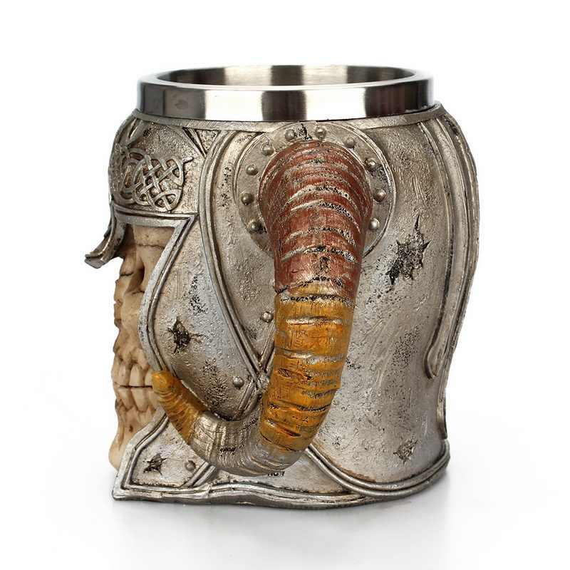 Retro żywica ze stali nierdzewnej kufel do piwa rycerz czaszka Halloween filiżanka kawy kreatywny Viking kubek do herbaty Pub dekoracje barowe