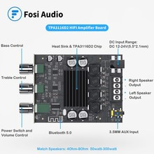 Fosi Audio ZK-1002T Bluetooth Treble and Bass Adjustment Subwoofer Amplifier Board Channel High Power Audio Stereo Bass AMP