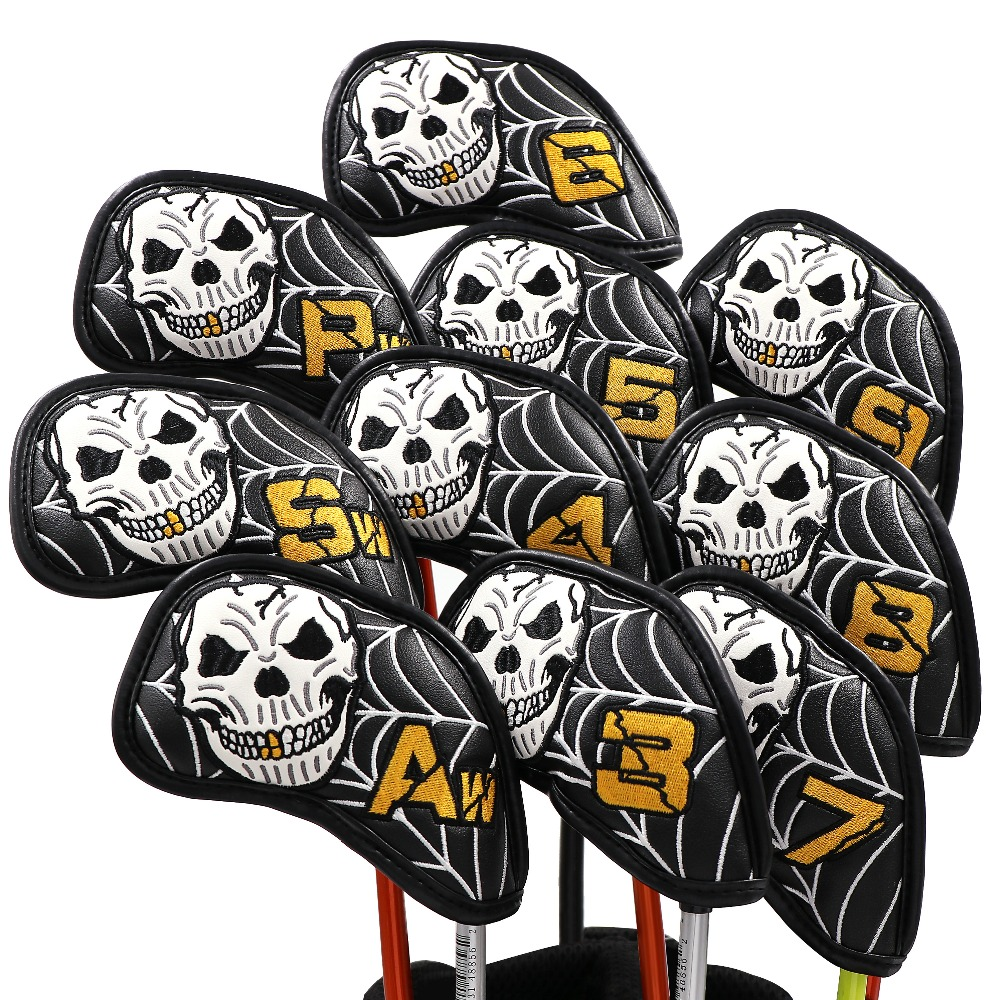 Skull Golf Iron Head Cover Pack Of 10pcs,Exclusive Skull Pattern Iron Covers Ideal For Titleist, Callaway, Ping, Taylormade,Cobr