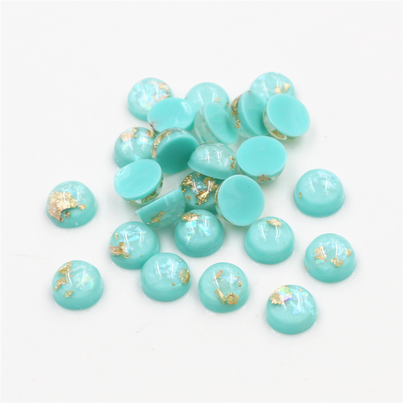 New Fashion 8mm 10mm 40pcs Light Apple Colors Built-in Metal Foil Flat Back Resin Cabochons For Bracelet Earrings Accessories