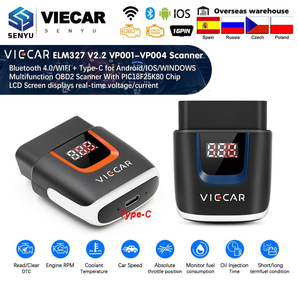 Viecar ELM327 V2.2 PIC18F25K80 OBD2 Bluetooth 4.0 WIFI ELM 327 USB Scanner Auto Tool OBD2 OBD 2 Car Diagnostic For Android/IOS