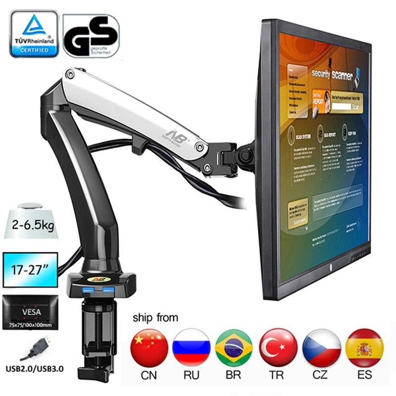 NB F100 aluminium 27 pouces presse à air gaz-jambe de force bureau Flexi lcd tv support de table 360 rotation 2 USB 1 moniteur support de bureau Lcd support