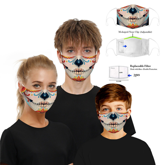 Washable Skull Smiley Printing Mouth Mask with Filter for Halloween Party Half Face Mask Dust proof bacteria proof Flu Mask 2