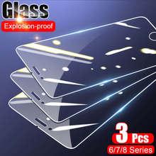 3 peças de vidro protetor no para iphone 8 7 6 s plus protetores de tela para iphone8 8plus 6plus 7plus capa de filme de vidro de vidro