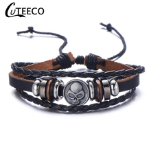 Cuteeco Cheap Bracelet Skeleton Skull Punk Gothic Rock Leather Belt Buckle Bracelets For Women Men Bracelets & Bangles 2019 New недорого