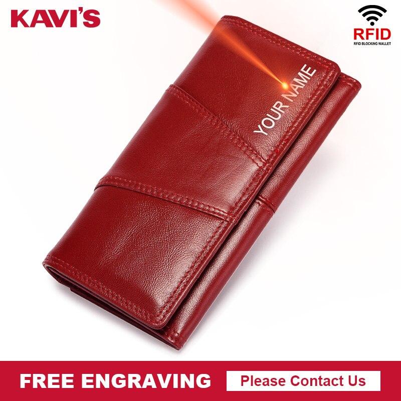 KAVIS gravure en cuir véritable femmes portefeuilles longues embrayages femme pratique portefeuille pour filles dame porte-téléphone portable poche d'argent