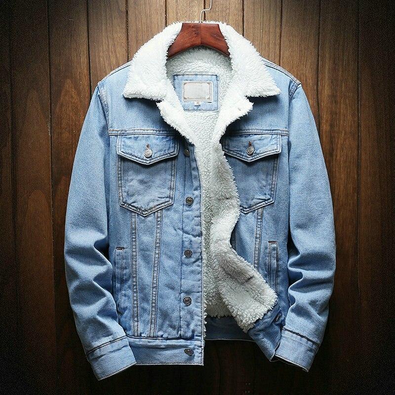 Streetwear Men Jacket And Coat Warm Fleece Denim Jacket 2020 Winter Fashion Mens Jean Jacket Outwear Male Plus Size