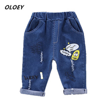OLOEY Baby Autumn Pants 2019 New Childrens Trousers Fashion Boy Cartoon Bear Jeans Girl Hole Popular 1-4 Years Old