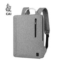 CAI mochila para ordenador portátil para hombre, bolso de moda para oficina, escolar, a prueba de agua, con cremallera, con asa metálica