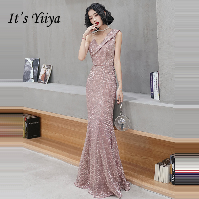 It's YiiYa Evening Dress Plus Size One Shoulder Sequined Formal Dresses 2020 Elegant Mermaid Sequins Long Robe De Soiree K128