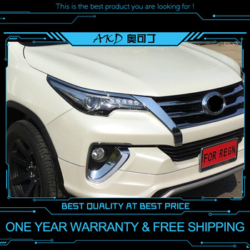 AKD tuning cars Headlight For Toyota Fortuner Headlights LED DRL Running lights Bi-Xenon Beam Fog lights angel eyes Auto levels