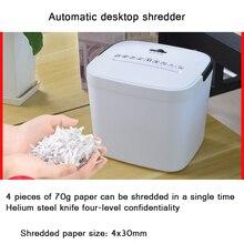 3.5L Mini Portable Document Shredder Particle Silent And Confidential Data Paper Electric Automatic Desktop Shredder