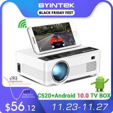 1080P 3D 4K بروجكتر HD صغير من طراز BYINTEK C520 (أندرويد  10 TV BOX اختياري)، مسرح منزلي 150inch، جهاز إسقاط ليد محمول للهواتف