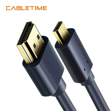 Cabletime Micro HDMI to HDMI Cable Gold-Plated Bi-directional HDMI cable 2k*4k 2.0 HD High Premium HDMI Cable for PS4 Box N117
