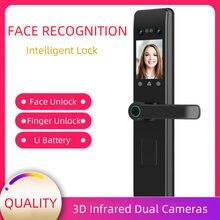 Reconhecimento facial fechadura inteligente anti-roubo fechadura da porta t palmprint senha cara ic cartão chave desbloquear inteligente keyless fechaduras