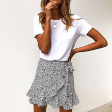 Multi Dot Print Short Mini Skirts Women Summer Ruffle High Waist Bow Tie Skirt Ladies Streetwear Slim Bottoms Saias 2019