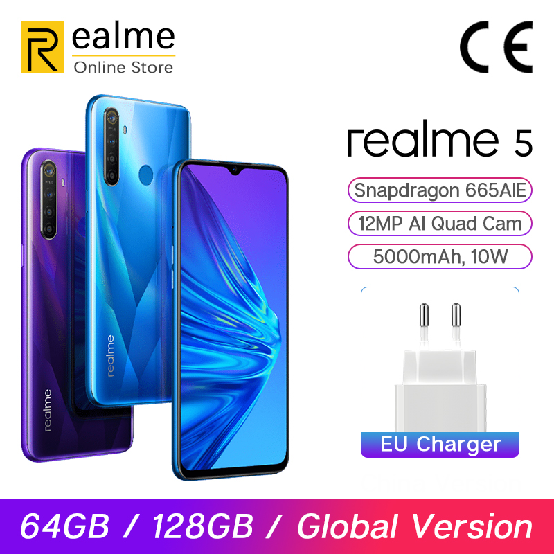 Global Version Realme 5 3G/4G 64G/128G 6.5'' Moblie Phone Snapdragon 665 12MP Quad Cam Cellphone 5000mAh VOOC 10W Fast Charger