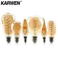Retro bombilla LED Edison E14 E27 filamento de La Luz 4W regulable 2200K amarillo caliente 220V C35 A60 T45 ST64 G80 G95 Vintage espiral lámpara