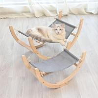 Pet Dog Cats Wooden Hammock Swing Soft Sleeping Mat Cushion Durable Rocking Hanging Bed