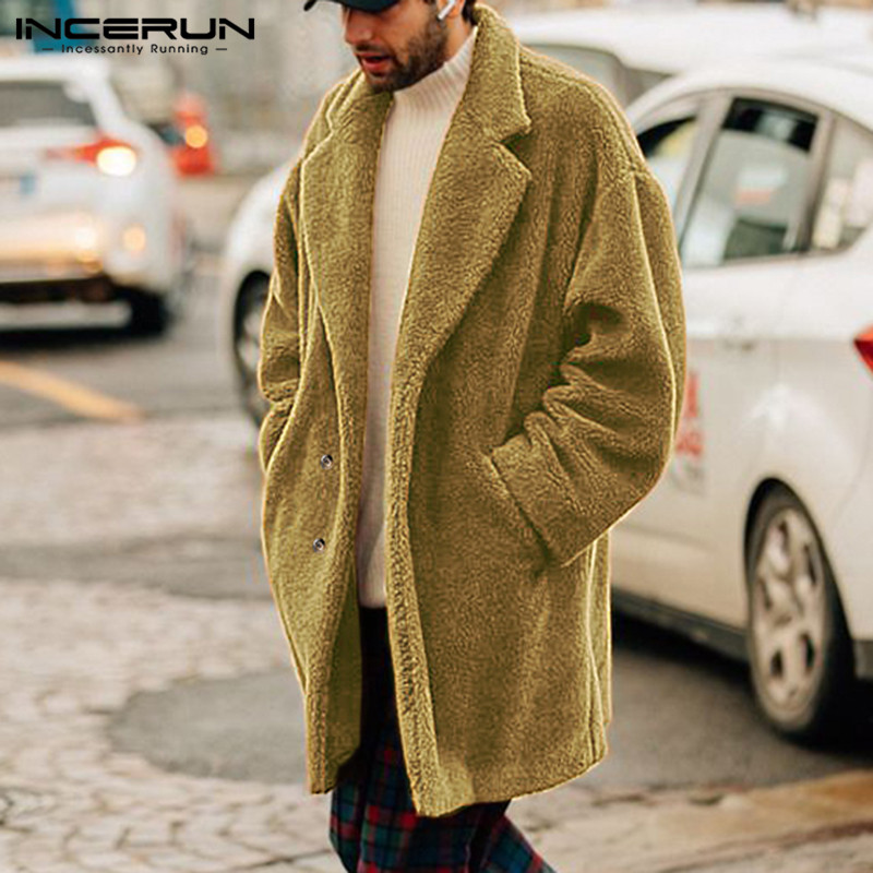 INCERUN Winter Fashion Men Jackets Coats Fake Fleece Button Long Overcoat Long Sleeve Faux Fur Warm Fluffy Men Outerwear 2019