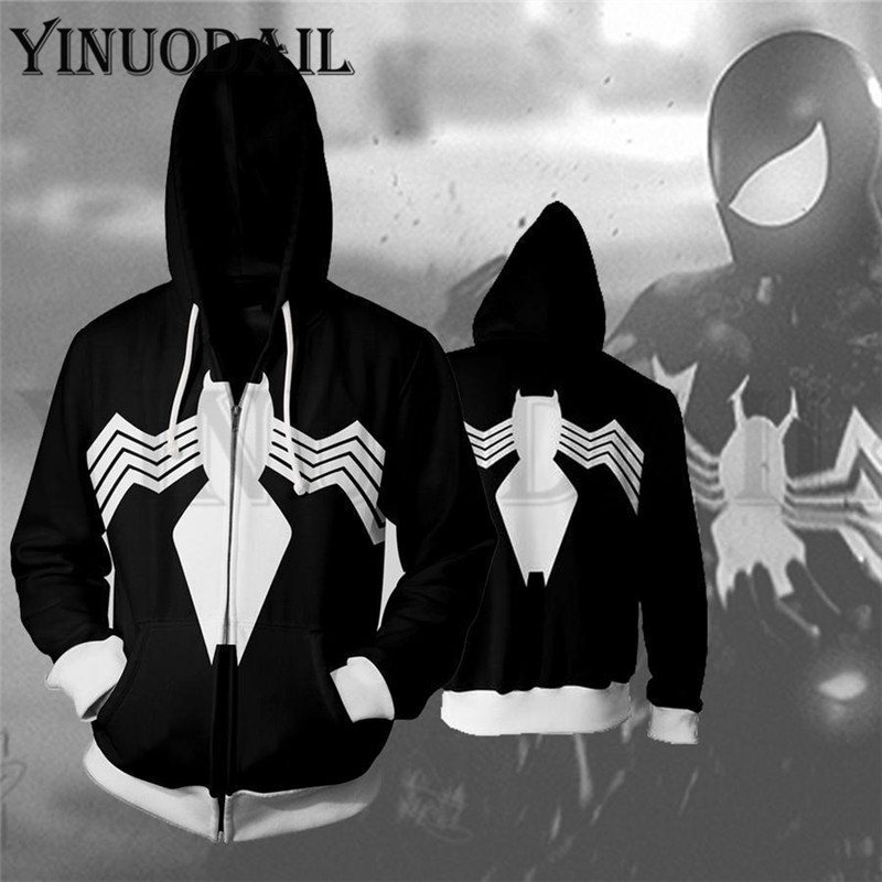 Avengers Spiderman Superhero Autumn New Casual Venom Unisex Zipper Hoodies Top Sweatshirt Jacket Coat